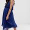 Marineblauwe midi-jurk met plissérok
