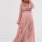 Oudroze maxi-jurk met lange mouwen en ruches