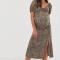 Midi-jurk met korte mouwen en luipaardprint