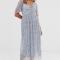 Babyblauwe maxi-jurk met korte mouwen en bloemenprint