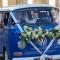 Blauw Volkswagenbusje
