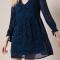 Donkerblauwe midi-jurk met zebramotief