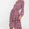 Poederroze maxi-jurk met roze bloemenprint en strikkraag