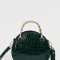 Cirkelvormige crossbody bagmet crocotextuurin smaragdgroen