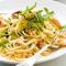 Spaghetti met krab, rucola en pancetta