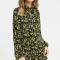 Zwarte mini-jurk met gele bloemenprint