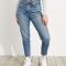 Jeans met hoge taille en strikriempje