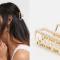 Goudkleurige haarklem bezet met imitatieparels
