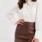 Witte transparante blouse in jacquard met Victoriaanse kraag