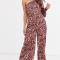 Roze asymmetrische jumpsuit met luipaardprint