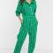 Groene jumpsuit met witte strepen en driekwartmouwen