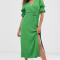 Groene midi-jurk met pofmouwen en riem