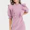 Lila mini-jurk met ruches en pofmouwen
