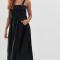Zwarte mouwloze maxi-jurk
