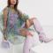 Transparante midi-jurk met bloemenprint uit organza