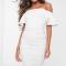 Witte nauw aansluitende mini-jurk met ruches