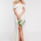 Crèmekleurige maxi-jurk met split
