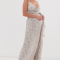 Champagnekleurige maxi-jurk bezet met pailletten