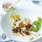 Geroosterde asperges met burrata, gekonfijte tomaten en quinoa