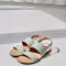 Muntgroene sandalen in croco
