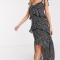 Zwarte maxi-jurk met witte polkadots en ruches