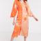 Oranje midi-jurk met kimonomouwen en bloemenprint