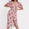 Roze midi-jurk in broderie anglaise met bloemenprint en pofmouwen