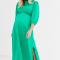 Groene midi-jurk met pofmouwen