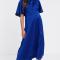 Kobaltblauwe midi-jurk met polkadots