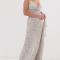 Lichtgrijze maxi-jurk met goudkleurige pailletten