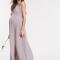 Lila-grijze maxi-jurk in plissé