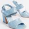 Babyblauwe sandalen in nepcrocoleer met blokhak