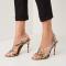 Geel-grijze sandalen in nepslangenleer met naaldhakken
