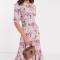 Midi-jurk met korte mouwen en bloemenprint