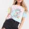 Tie-dye T-shirt met opschrift 'Your kindness is always valued'