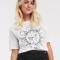 Wit T-shirt met opschrift 'Moon power'