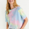 T-shirt in regenboogkleurige tie-dye