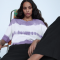 T-shirt met paars-witte tie-dye
