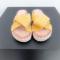 Gele slippers met geweven detail