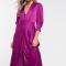 Paarse midi-jurk met driekwartmouwen in satijn