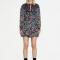 Zwarte mini-jurk met bloemenprint en lurex