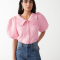 Roze hemd met pofmouwen