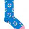 Blauwe sokken met regenboogmotief