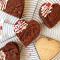 Doosje met 4 hartvormige brownies en koekje met opschrift 'Lekker ding'