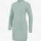 Muntgroene ribgebreide midi-jurk met lange mouwen