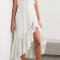 Midi-jurk uit broderie anglaise met asymmetrische zoom en riempje