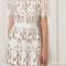Mini-jurk met korte mouwen inguipurekant