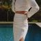 Chemise cropped drapée et jupe mi-longue drapée