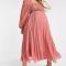 Robe plissée vieux rose à manches ballon