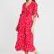 Robe portefeuille rouge à imprimé floral blanc